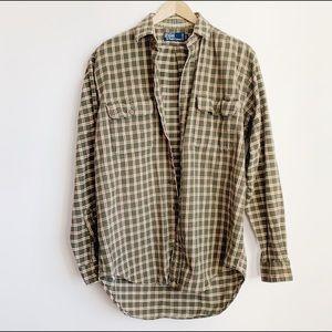90s polo ralph lauren olive cotton flannel